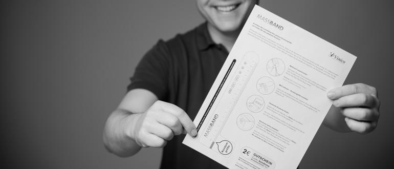 Das Vinico-Maßband kannst Du Dir auf unserer Webseite als pdf-Dokument runterladen und an Deinem Drucker ausdrucken. (Bild: © Vinico)